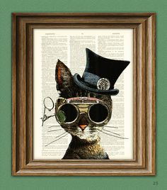 Clockwork Kitty Steampunk Cat illustration beautifully upcycled dictionary page book art print. $7.99, via Etsy.