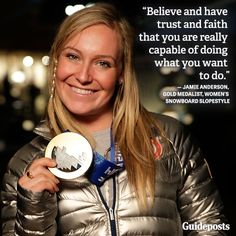 Inspiring words from Jamie Anderson, gold medalist, Women's Snowboard Slopestyle! Best Inspirational Quotes, Motivational Quotes, Serena Williams Quotes, Seeing You Quotes, Jackie Joyner Kersee, Flo Jo, Jamie Anderson, Athlete Quotes, Curls