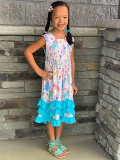 496beaf9b Rainbows & Unicorns Blue Ruffle Midi Tank Dress. Girls Boutique ...