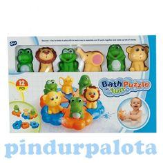 Állatos puzzle fürdőjáték. Mókás, vidám színes, állatkás fürdőjáték. A készletben hat darab egymásba rögzíthető kis puzzle darabka található, melyre a hat aranyos állatka, rögzíthető. A kis állatkák (oroszlán, krokodil, béka, elefánt, teknős, majmocska) még vizet is tudnak spriccelni!