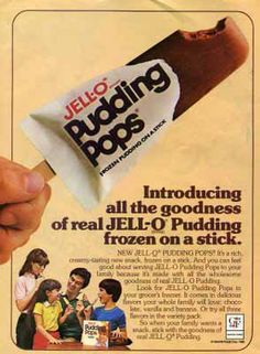 Jell-o Pudding Pops — Bill Cosby did the commercials. Jell-o Pudding Pops — Bill Cosby did the commercials. Cottage Cheese Benefits During Pregnancy 90s Childhood, Childhood Memories, School Memories, Vintage Advertisements, Vintage Ads, Vintage Food, Retro Food, Retro Advertising, Retro Ads