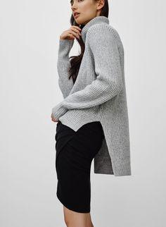 grey jersey + black skirt