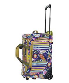 Cobalt Paisley & Stripe Good Times Roller Bag by HADAKI