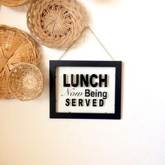 Lunch Now Being Served Glass Sign. Available in three different frame colors 😊💕