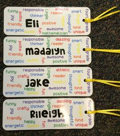 Wordle Bookmarks full of adjectives to describe the kids - end gifts