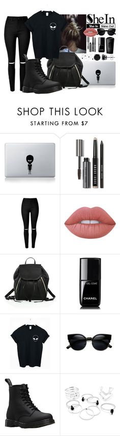 Alien//T-shirt//Shein by penguinx14 on Polyvore featuring Mode, WithChic, Dr. Martens, Rebecca Minkoff, BERRICLE, Vinyl Revolution, Lime Crime, Bobbi Brown Cosmetics, Chanel and WALL