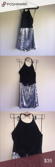 Nasty Gal Black Backless Silver Sequined Dress Never Worn Nasty Gal Backless Silver Sequined Dress, Visible Silver Zipper on Back, doesn't fit me in the front area. Nasty Gal Dresses