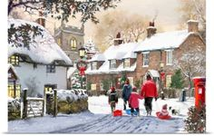 The Macneil Studio Poster Print Wall Art Print entitled Snowy Village, None