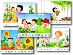 40 puzzles numériques numérotés de 1 à 5, de 1 à 10, de 2 en 2