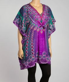 Another great find on #zulily! Purple Abstract V-Neck Tunic - Women #zulilyfinds