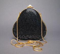 Judith Leiber Black Crystal Minaudiere Bag