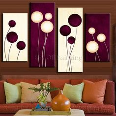4 Pcs/Set Abstract Oil Painting On Canvas Combined Plum Cream Abstract Circles Home Room Decor Wall Art Picture HD Poster Oil Painting Abstract, Abstract Wall Art, Acrylic Painting Canvas, Diy Painting, Wall Art Pictures, Pictures To Paint, Diy Wall Art, Wall Art Decor, Room Decor