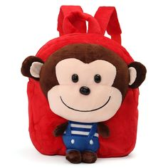 Sale 11% (10.89$) - School Bag Cartoon Animal Monkey Plush Doll Backpack Shoulder Satchel Kids Travel Kindergarten Gifts