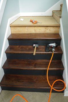 Home Remodeling Ideas - Removing carpet from stairs and replacing it with wood stair treads is totally doable. This DIY staircase makeover was accomplished in a weekend and looks like a professional job! Proof that a staircase remodel can be a DIY job. Home Remodeling Diy, Basement Remodeling, Home Renovation, Bathroom Remodeling, Wood Stair Treads, Wood Stairs, Basement Stairs, Basement Ideas, Furniture Makeover