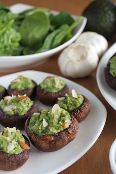 Spinach Avocado Stuffed Portobellos #vegan