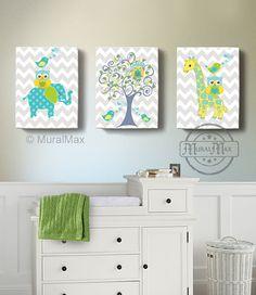 Nursery Art - Nursery Decor - Elephant Giraffe, Owl , Birds - Canvas Art - Baby Boy Room Decor -  Tree Nursery Art, Green and Aqua