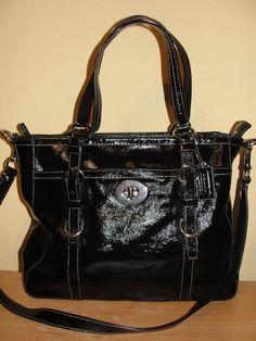COACH #F14022 Black Patent Leather Chelsea Satchel Tote Shoulder Handbag Purse #Coach #ShoulderBag