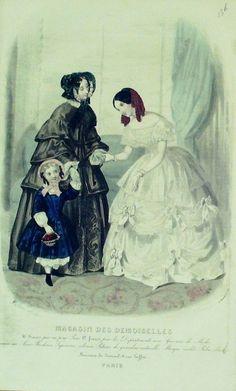 GRAVURE de MODE AUTHENTIQUE-M156-MAGASIN DEMOISELLES-ROBE DE CEREMONIE-1854