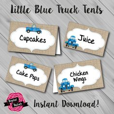 Little Blue Truck Name/Food Tents. Instant Download! Digital File/Printable.