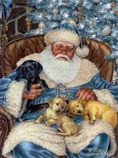 Diamond Painting - Napping Santa - Floating Styles - Diamond Embroidery - Paint With Diamond - free worldwide shipping. We also offer tools like lighting pad, diamond painting kits including quick painting pens. Create Your Own Paint With Diamonds now! Christmas Scenes, Noel Christmas, Father Christmas, Vintage Christmas Cards, Christmas Pictures, Vintage Cards, Christmas Cats, Illustration Noel, Christmas Illustration