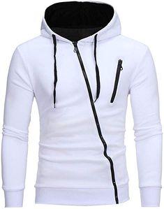 Riou Herren Langarm Hoodie Sweatshirt Slim fit Sweatjacke Kapuzenpullover  PulloverT-Shirt Baumwoll Outwear Männer Langarm 8d8cd49824