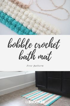 Make a crochet bath mat with my latest free pattern in collaboration with Red Heart! Bobble stitches paired with Scrubby Cotton is a beautiful combination! Bobble Stitch Crochet, Crochet Mat, Crochet Patterns Amigurumi, Crochet Hooks, Beach Bag Tutorials, Rag Rug Tutorial, Crochet Home Decor, Crochet Projects, Crochet Ideas