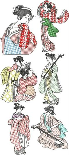 Geisha Blackwork Set I