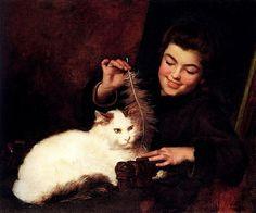 Antoine Jean Bail (1830 - 1918) - Une jeune fille et un chat blanc