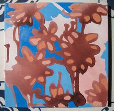 $50 Original Acrylic Painting on Etsy - Brown and Orange Dripping Flowers with Blues