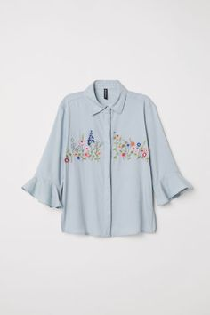 Straight-cut blouse in airy, textured-weave fabric with embroidery at front. Collar, concealed buttons at front, and flounced sleeves. Zara Tops, Classic White Shirt, Embroidered Clothes, Straight Cut, White Shirts, Woven Fabric, Shirt Blouses, Blouses For Women, Tunic Tops