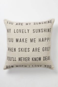 You Are My Sunshine Pillow, Anthropologie