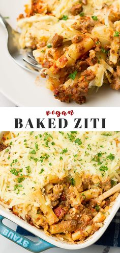 Vegan Baked Ziti is an easy weeknight pasta dish! With cashew cheese and optional vegan meat. #vegan #plantbased