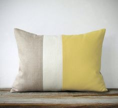 Butter Yellow Linen Color Block Cushion Cover with Cream Stripe by JillianReneDecor - Spring Summer Home Decor - Pastel Yellow Pillow on Etsy, $67.04 CAD