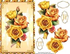 Yellow Roses on Craftsuprint - View Now! Yellow Roses, Card Making, Floral, Cards, Flowers, Maps, Handmade Cards, Playing Cards, Flower