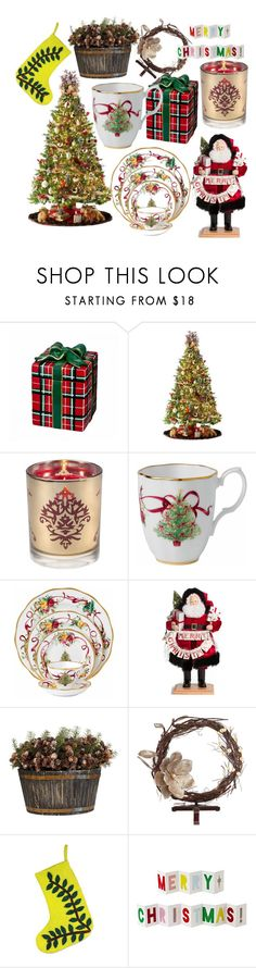 """""""Christmas"""" by cadenceamy2004 ❤ liked on Polyvore featuring interior, interiors, interior design, home, home decor, interior decorating, Waterford, General Foam, Aromatique and Royal Albert"""