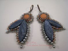 Bead Embroidery Earrings Copper and Blue Coral, Gray Blue Dangle Earrings with…