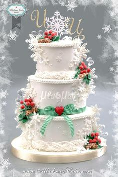 Christmas Wedding Cake by MLADMAN - http://cakesdecor.com/cakes/298830-christmas-wedding-cake