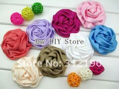 Free Shipping!60pcs/lot Wholesale DIY 100% handmade beauty rose puff  flowers,Hair accessories,Hair flowers WITHOUT clip,18color
