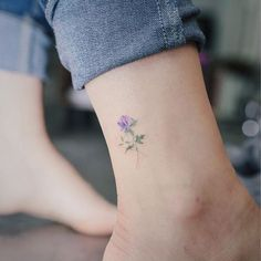 tattoo - minimalism - purple - flower