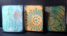 """These mini #gelli journals are by Jeannie Thompson Phillips -- who shares... """"The prints are on card stock. The paper inside is inexpensive copy paper. The cover is cut at 4x6 and folded in half, the pages are cut at 3 3/4 by 5 1/2 folded in half. I love giving them away"""" #gellijournaling"""