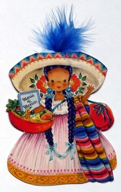 1948 Hallmark Dolls of the Nations Card No. 18 Maria of Mexico
