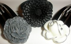 Glamour Black Silver Gray Set of 3 hair by ChicChicChickadee, $13.00