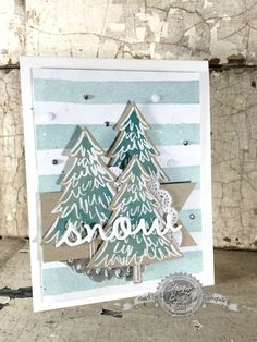 We love the fun technique of adding pops of color to Crumb Cake card stock as show on this beautiful card featuring the Peaceful Pines stamp set.