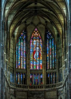 The apse of St.Vitus cathedral with stained glasses by Max Švabinský, Prague, Czechia