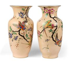 A pair of Paris opaline glass vases with peach ground ca. 1875