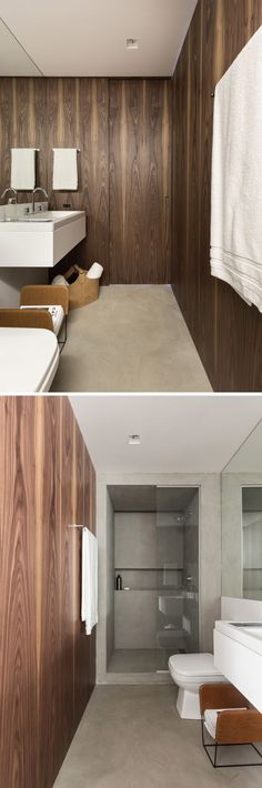 Wood lines the walls of this bathroom, with the designers using a green moisture resistant MDF inside the wooden panels, ensuring strength and protection for the humidity.