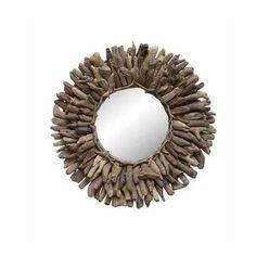 Round Driftwood Framed Mirror