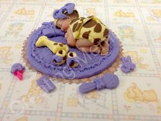 Baby Girl  Giraffe Outfit - Fondant Cake Topper yellow and brow vanilla fondant baby toys and shoes