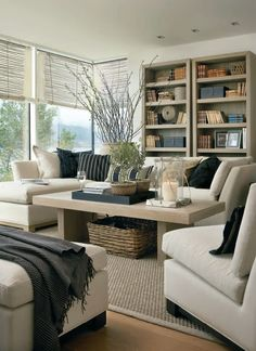 Great neutral colors in this stylish living room. Terrific table and accessories.