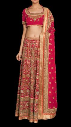 Amriti Fuschia Embroidered Lehnga - Bridal - Lehengas